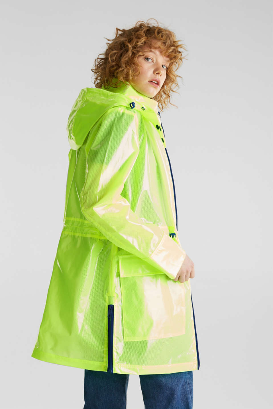 NEON rain jacket with mesh lining, LIME YELLOW, detail image number 3