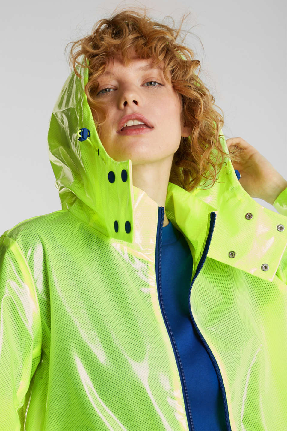 NEON rain jacket with mesh lining, LIME YELLOW, detail image number 6