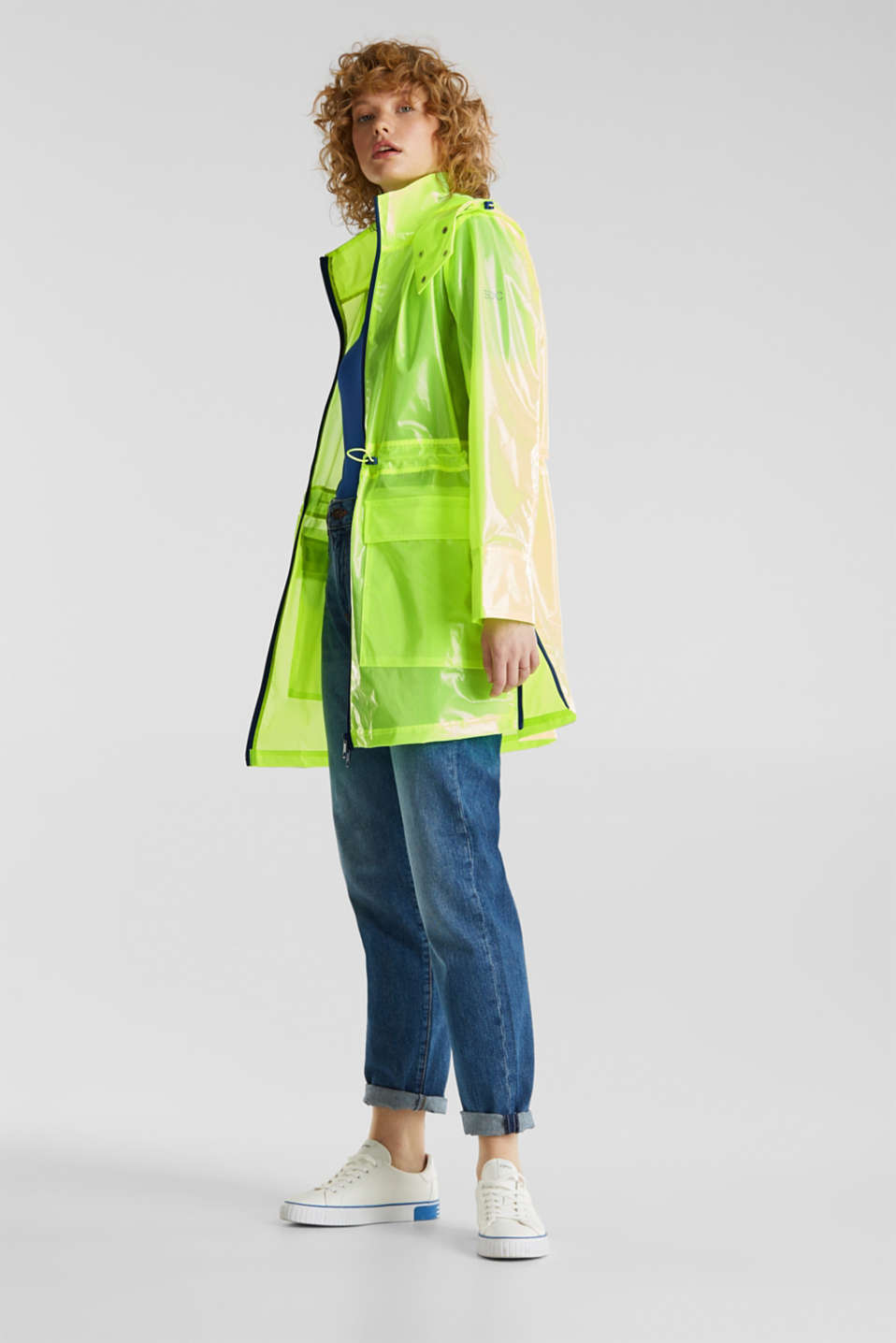 NEON rain jacket with mesh lining, LIME YELLOW, detail image number 1