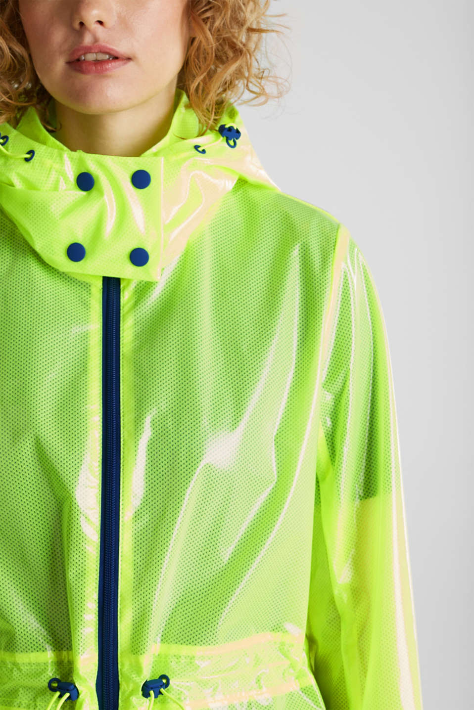NEON rain jacket with mesh lining, LIME YELLOW, detail image number 2