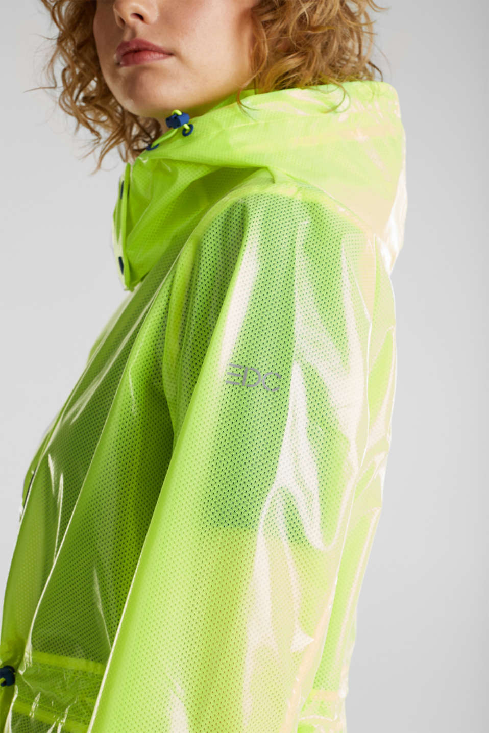 NEON rain jacket with mesh lining, LIME YELLOW, detail image number 5