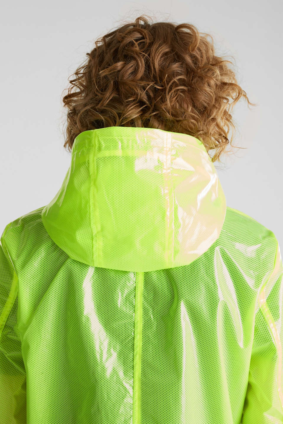 NEON rain jacket with mesh lining, LIME YELLOW, detail image number 7