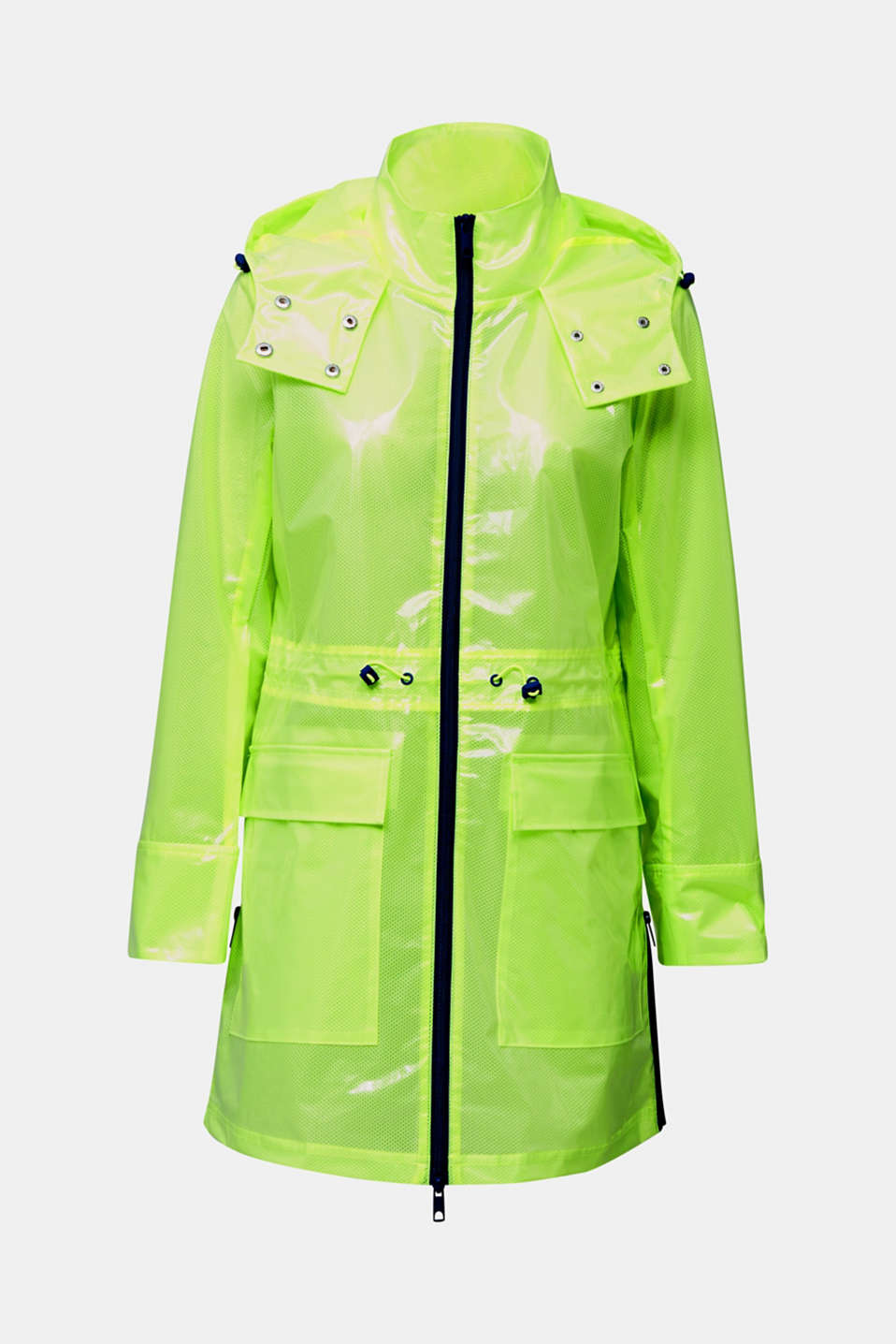 NEON rain jacket with mesh lining, LIME YELLOW, detail image number 8