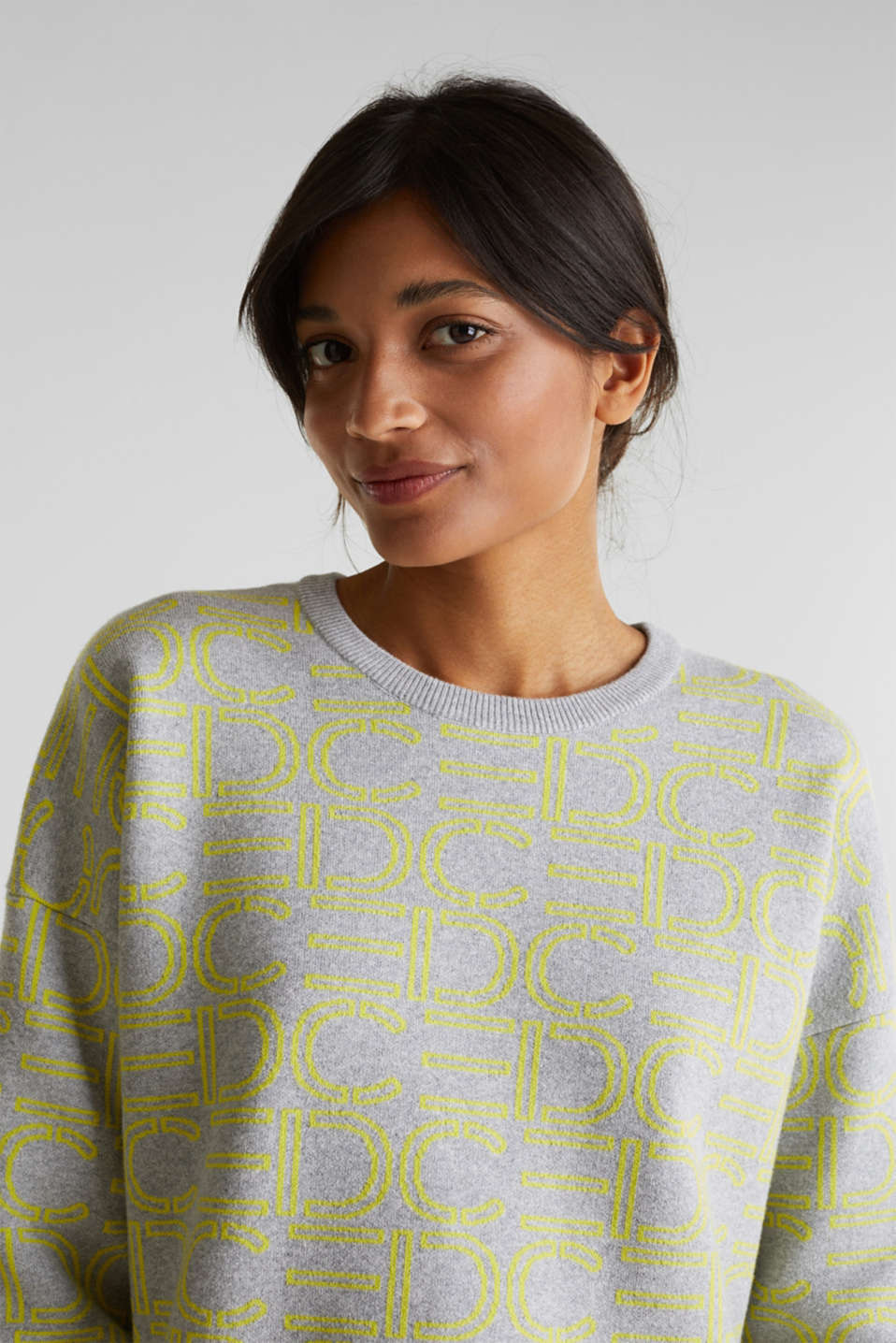 NEON compact boxy jumper with stretch, LIGHT GREY 4, detail image number 2