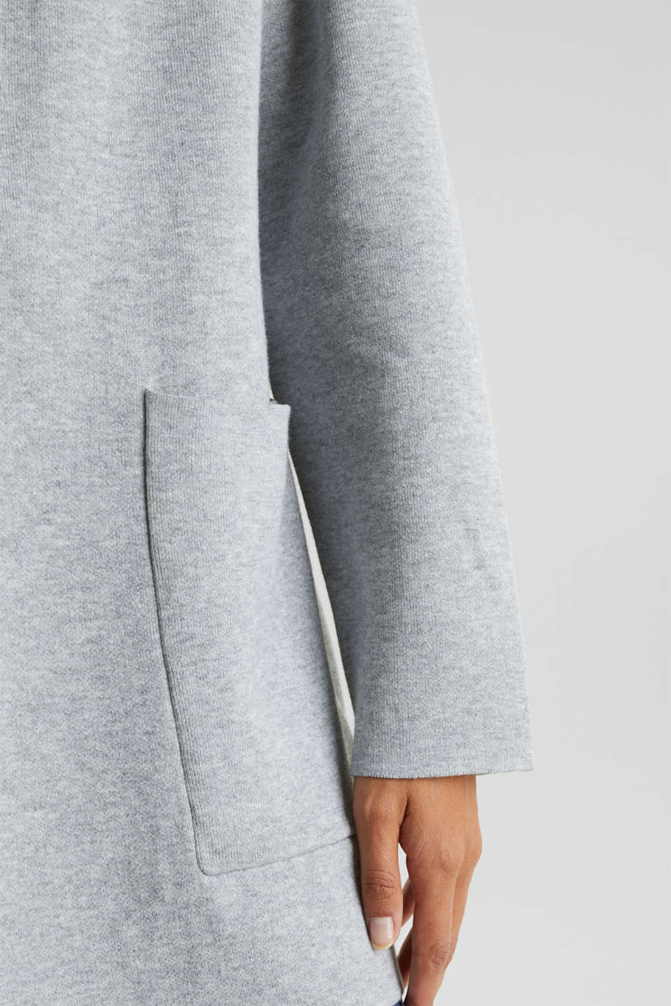 Reversible cardigan with a hood, LIGHT GREY 5, detail image number 4