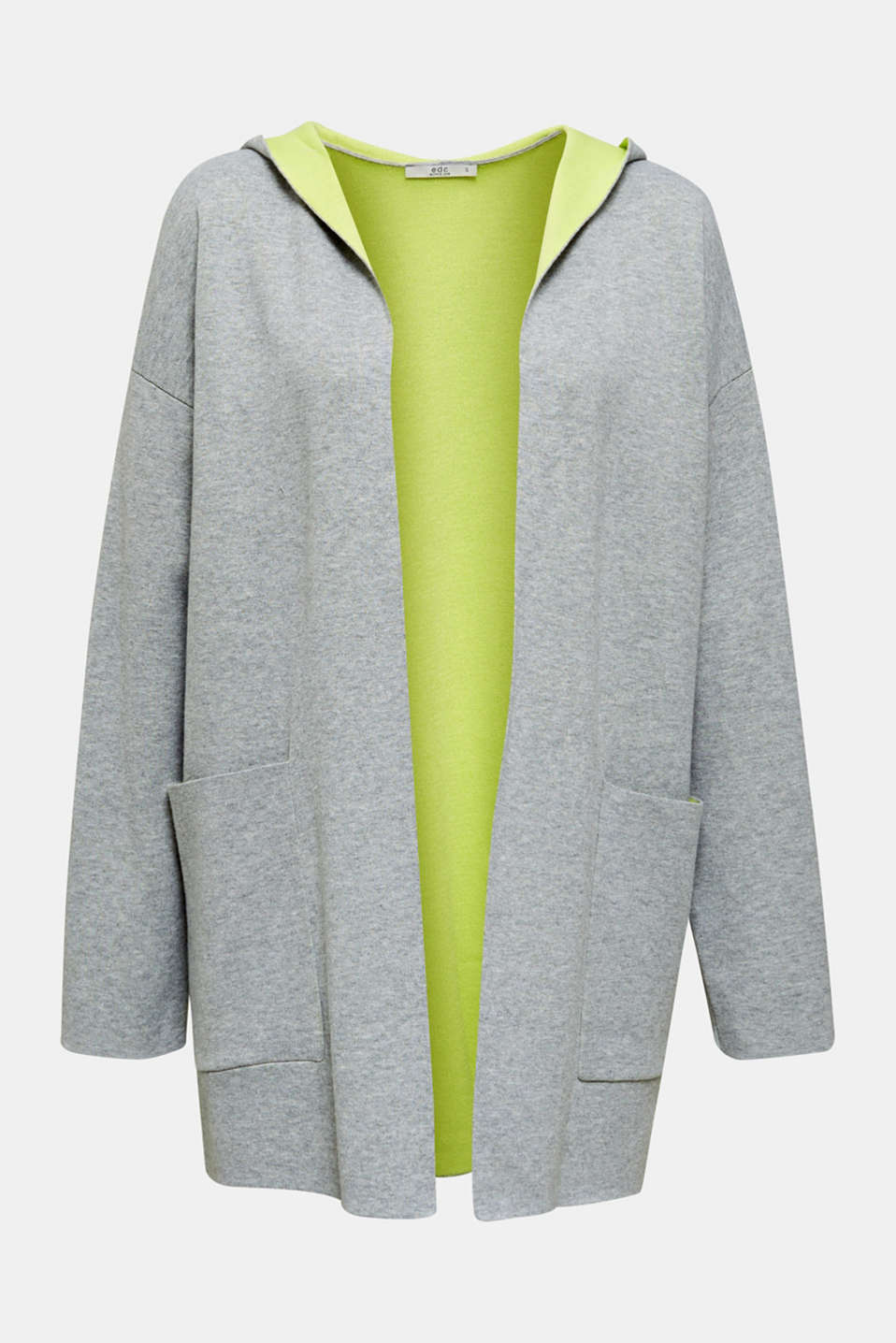 Reversible cardigan with a hood, LIGHT GREY 5, detail image number 7