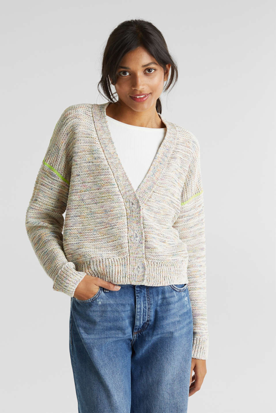 Boxy cardigan in a multi-coloured look, OFF WHITE 2, detail image number 7