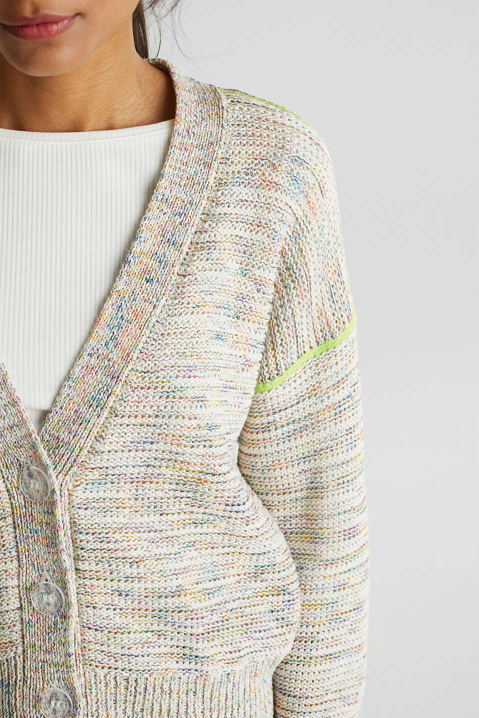 Multi-coloured cardigan, OFF WHITE 2, detail image number 2