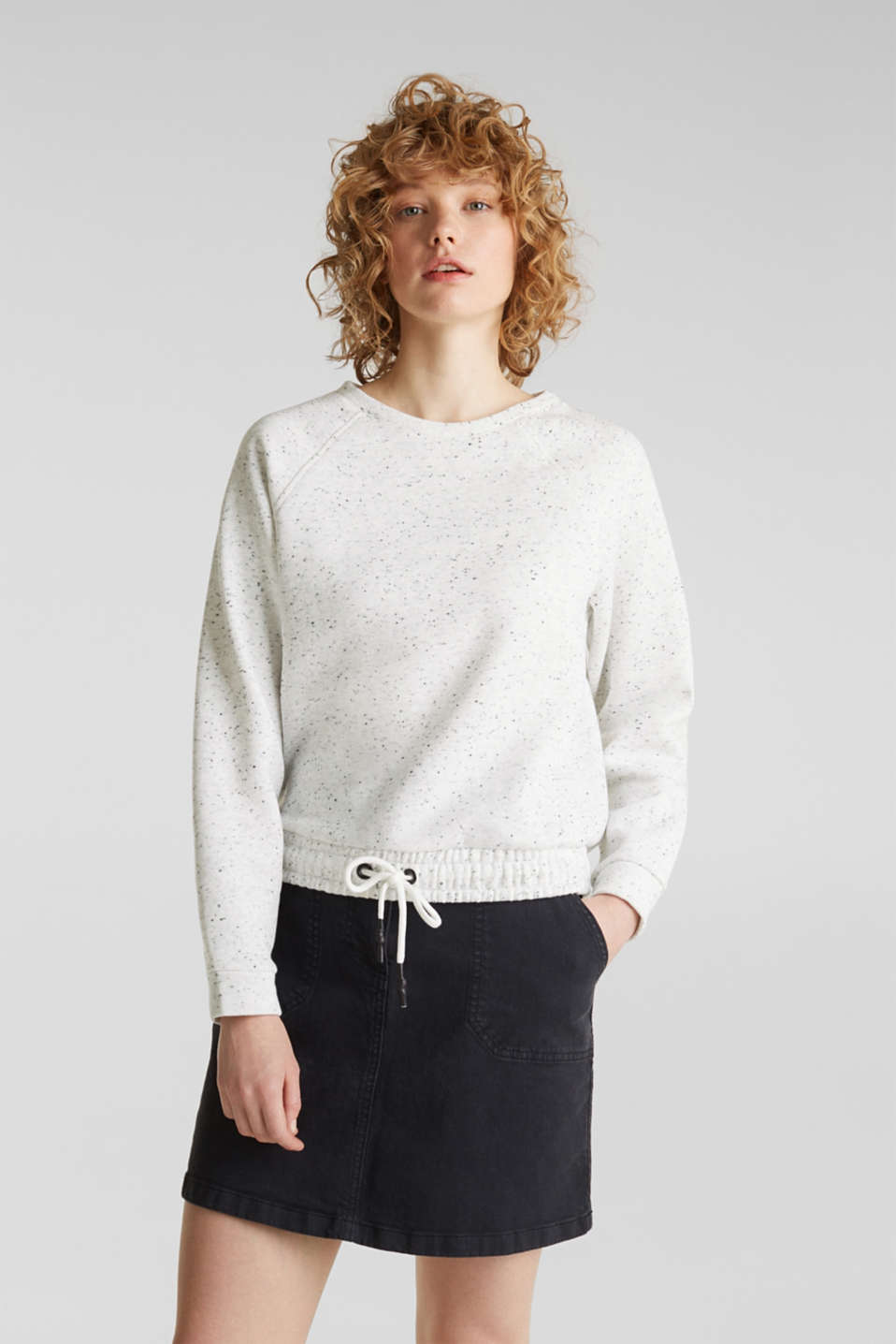 Boxy sweatshirt with a dimpled texture, LIGHT GREY 5, detail image number 0