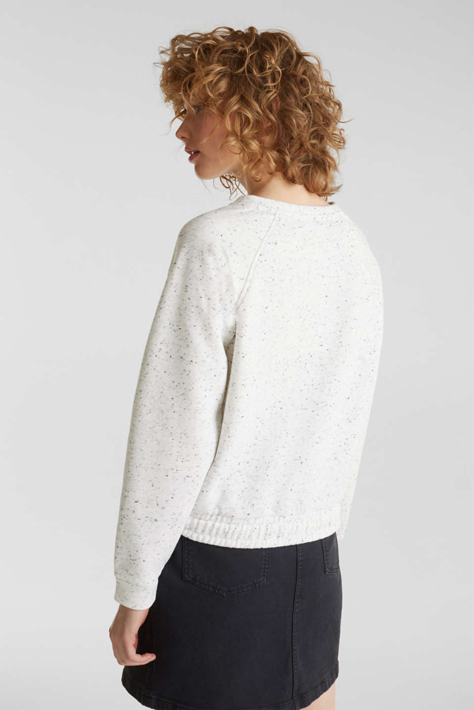 Boxy sweatshirt with a dimpled texture, LIGHT GREY 5, detail image number 3