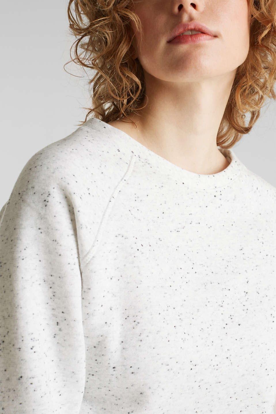 Boxy sweatshirt with a dimpled texture, LIGHT GREY 5, detail image number 2
