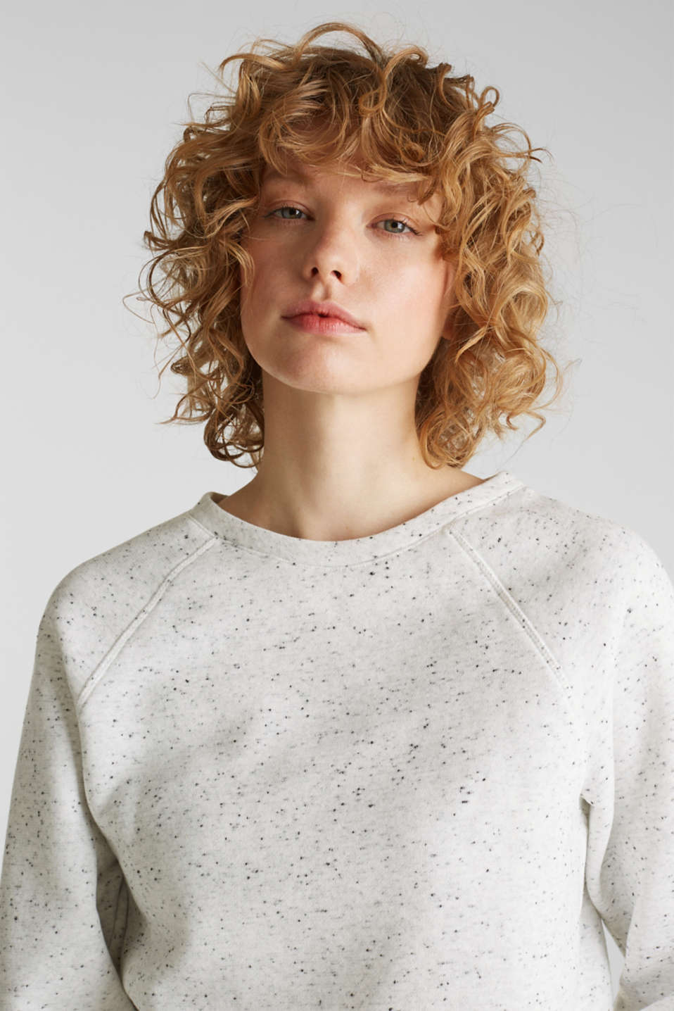 Boxy sweatshirt with a dimpled texture, LIGHT GREY 5, detail image number 6