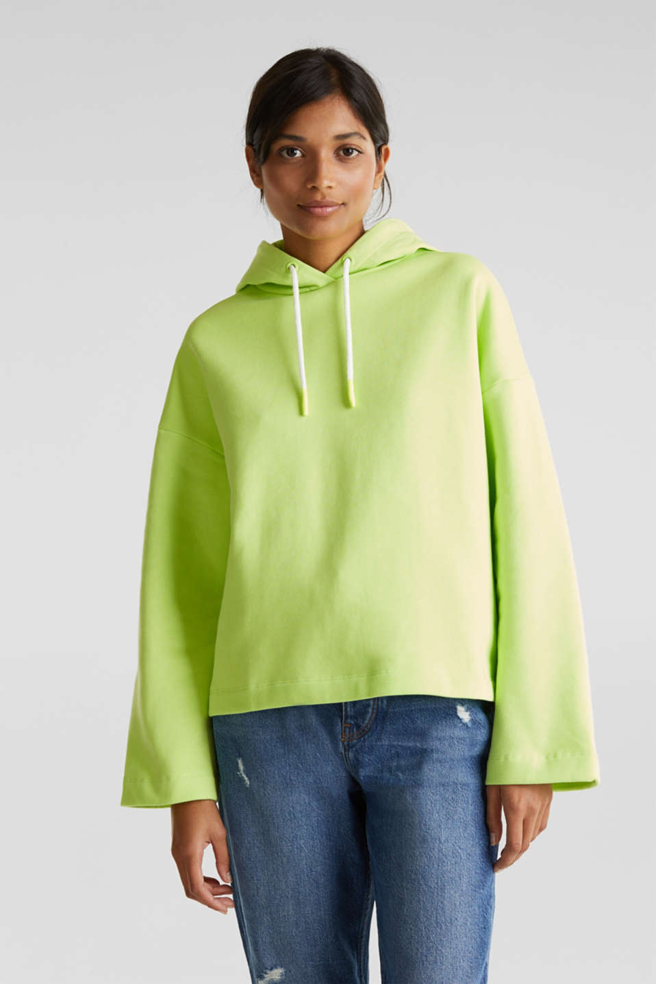 NEON boxy sweatshirt with a hood, 100% cotton, LIME YELLOW, detail image number 0