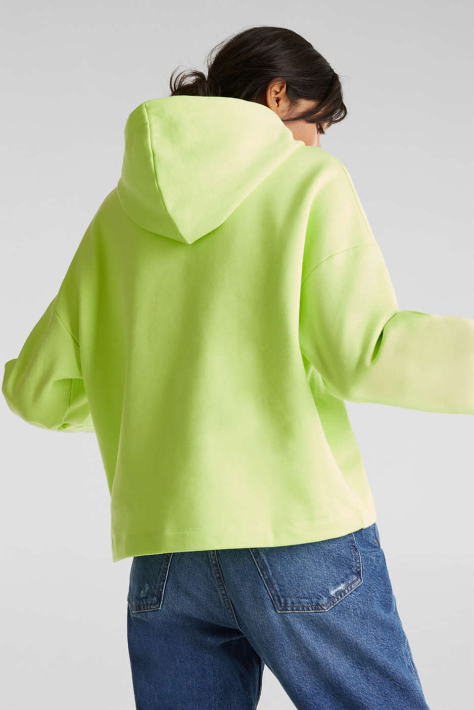 NEON boxy sweatshirt with a hood, 100% cotton, LIME YELLOW, detail image number 3