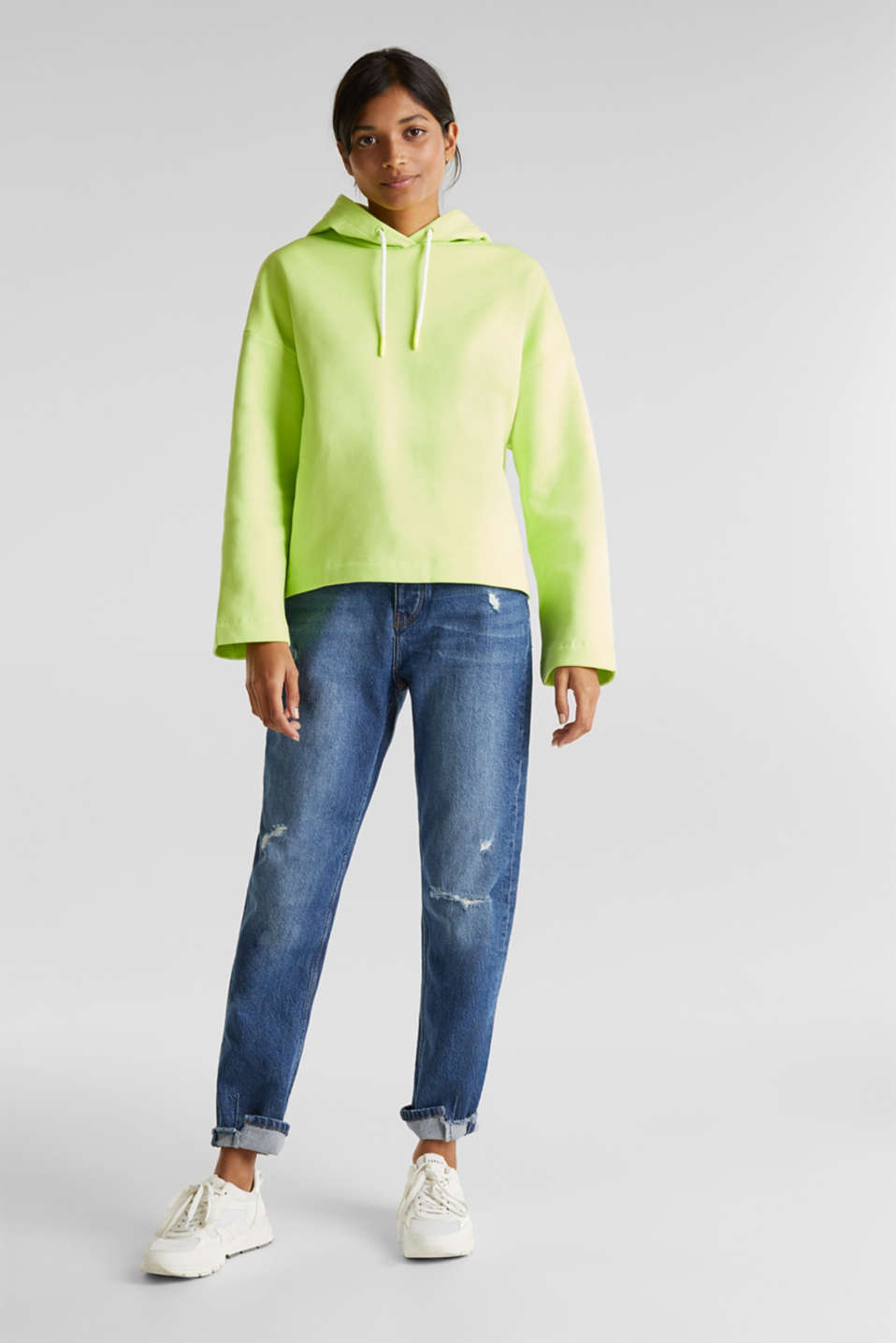 NEON boxy sweatshirt with a hood, 100% cotton, LIME YELLOW, detail image number 1