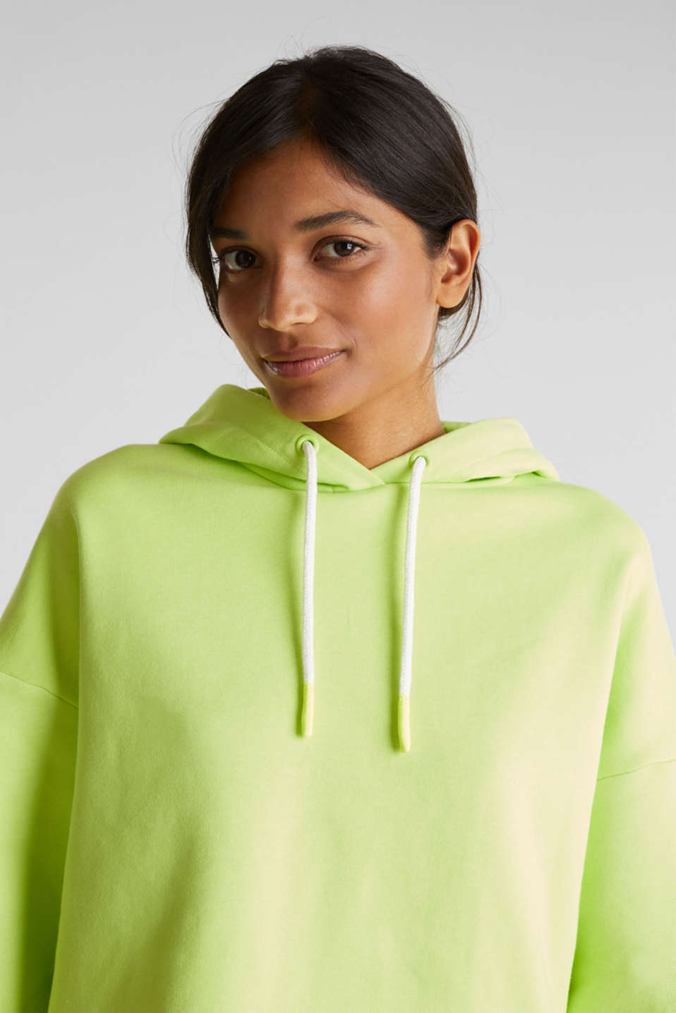 NEON boxy sweatshirt with a hood, 100% cotton, LIME YELLOW, detail image number 2