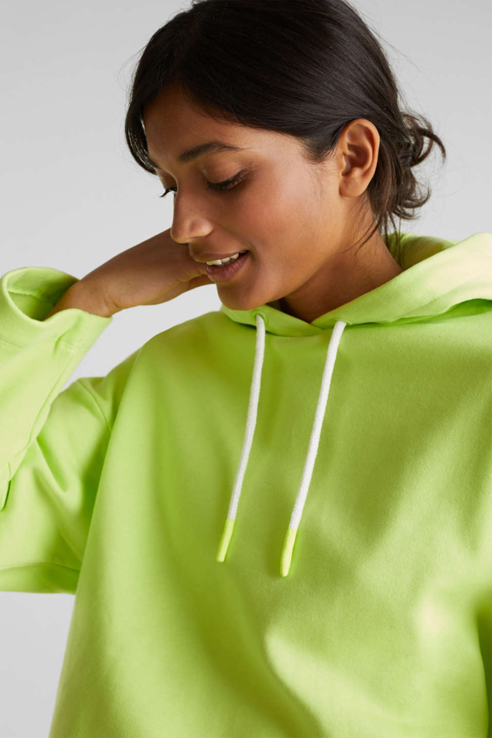 NEON boxy sweatshirt with a hood, 100% cotton, LIME YELLOW, detail image number 5