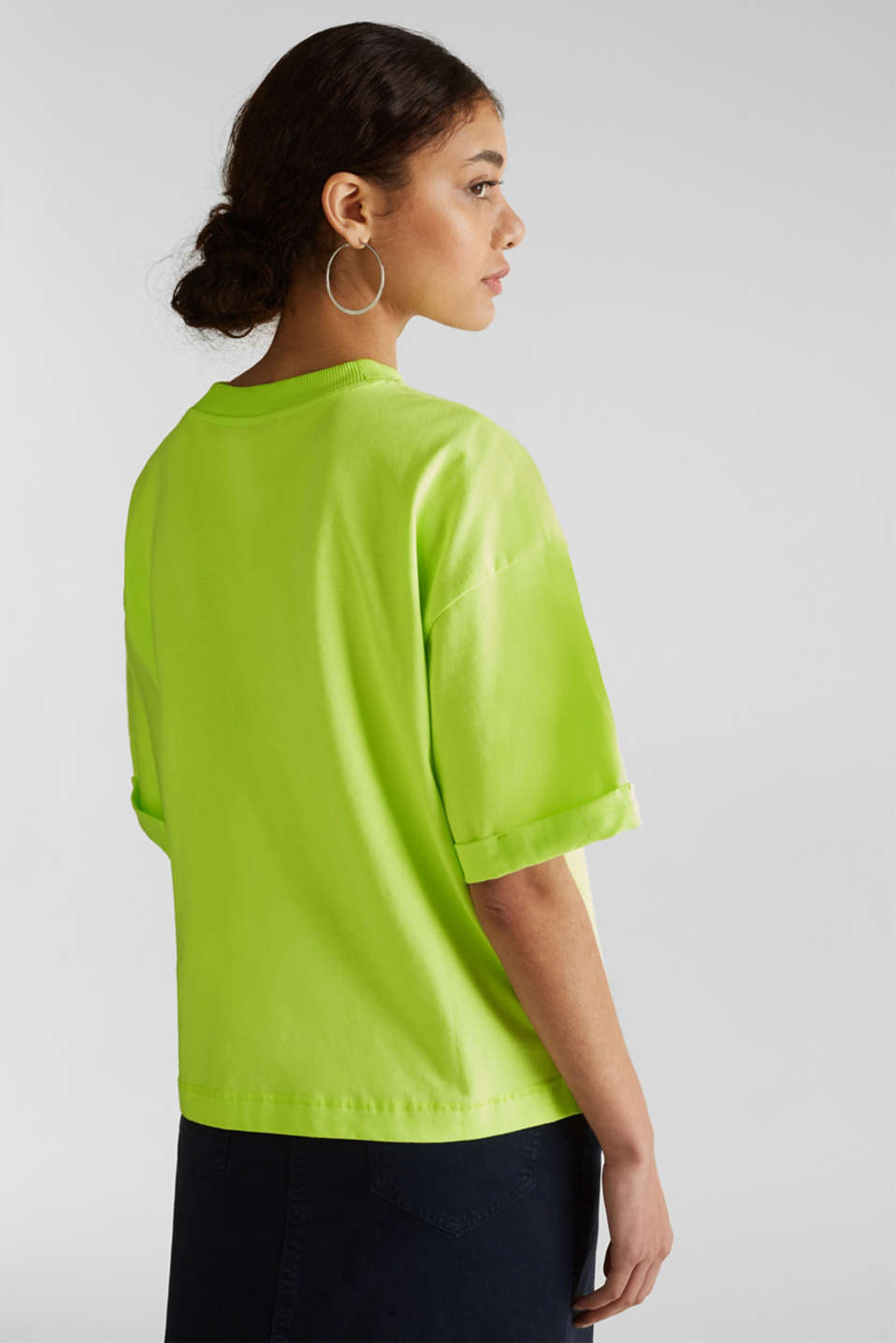 NEON top with wide sleeves, 100% cotton, LIME YELLOW, detail image number 3