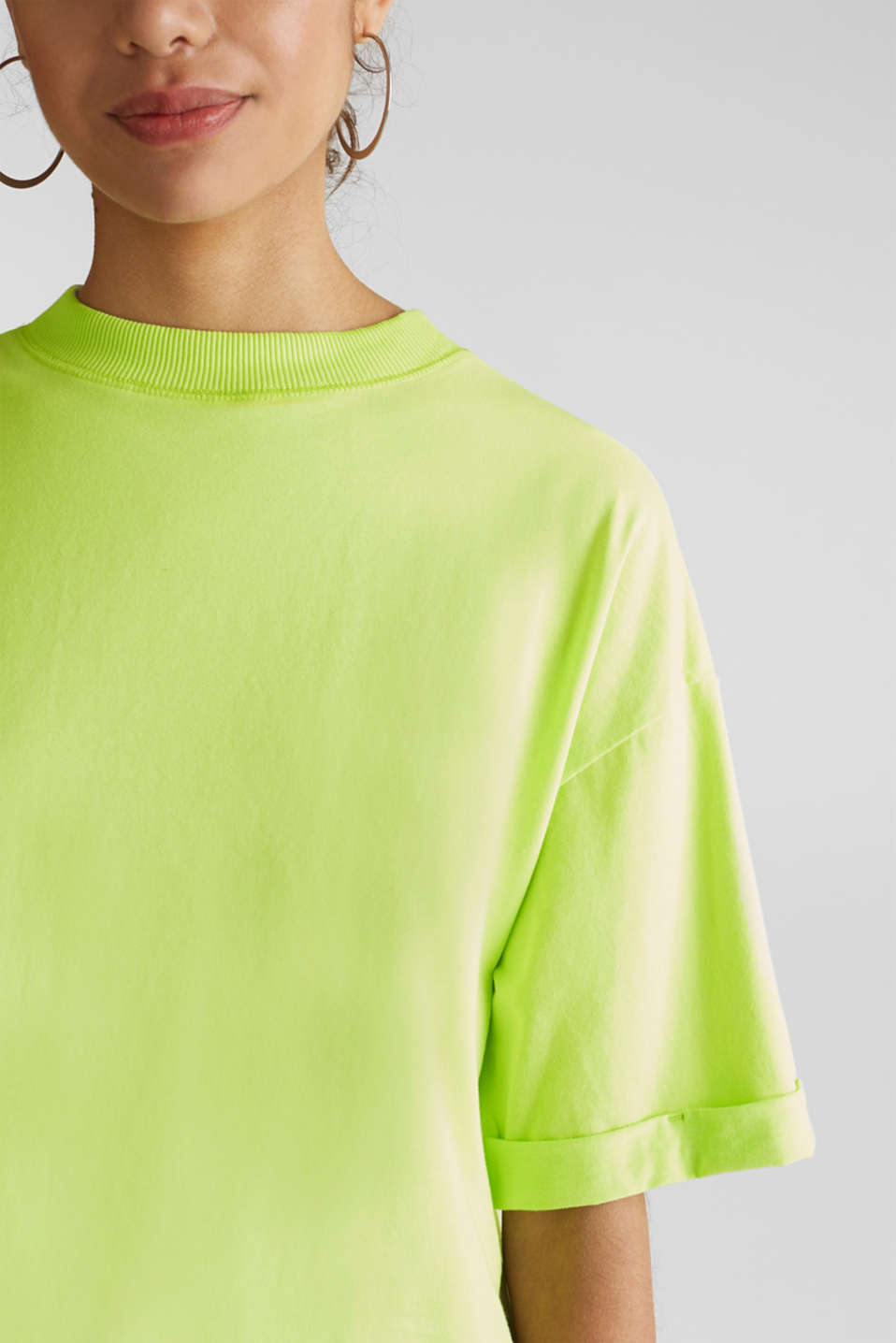 NEON top with wide sleeves, 100% cotton, LIME YELLOW, detail image number 2
