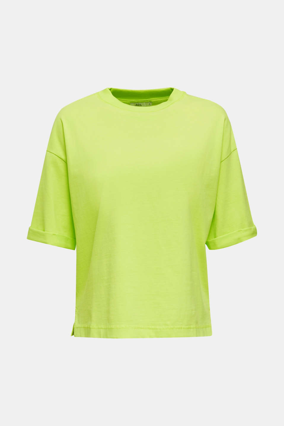 NEON top with wide sleeves, 100% cotton, LIME YELLOW, detail image number 6