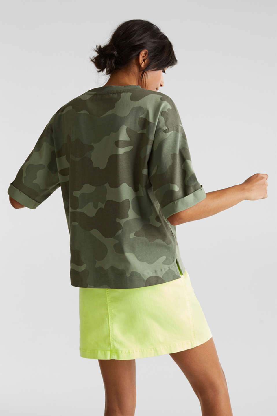 T-shirt with camouflage print, 100% cotton, KHAKI GREEN, detail image number 3