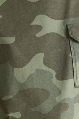 T-shirt with camouflage print, 100% cotton, KHAKI GREEN, detail