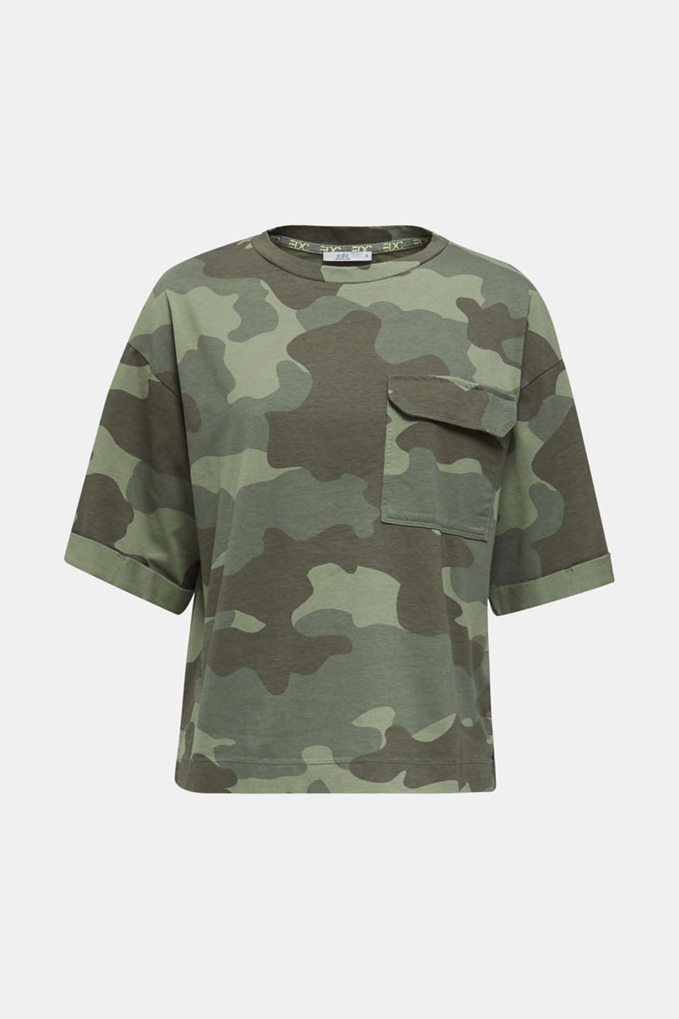 T-shirt with camouflage print, 100% cotton, KHAKI GREEN, detail image number 6