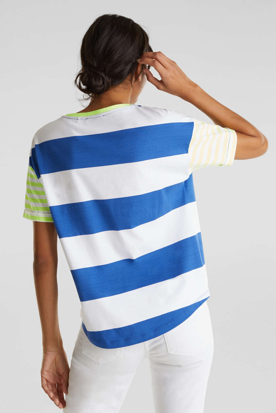 NEON T-shirt with block stripes, 100% cotton, BRIGHT BLUE, detail image number 3