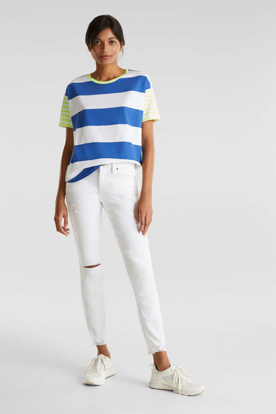 NEON T-shirt with block stripes, 100% cotton, BRIGHT BLUE, detail image number 1