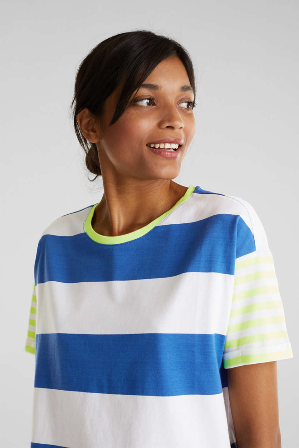 NEON T-shirt with block stripes, 100% cotton, BRIGHT BLUE, detail image number 2