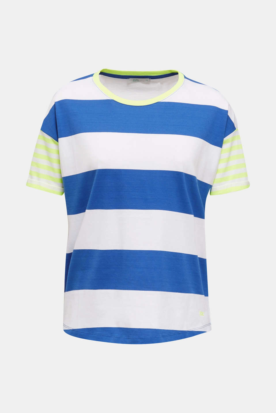 NEON T-shirt with block stripes, 100% cotton, BRIGHT BLUE, detail image number 6