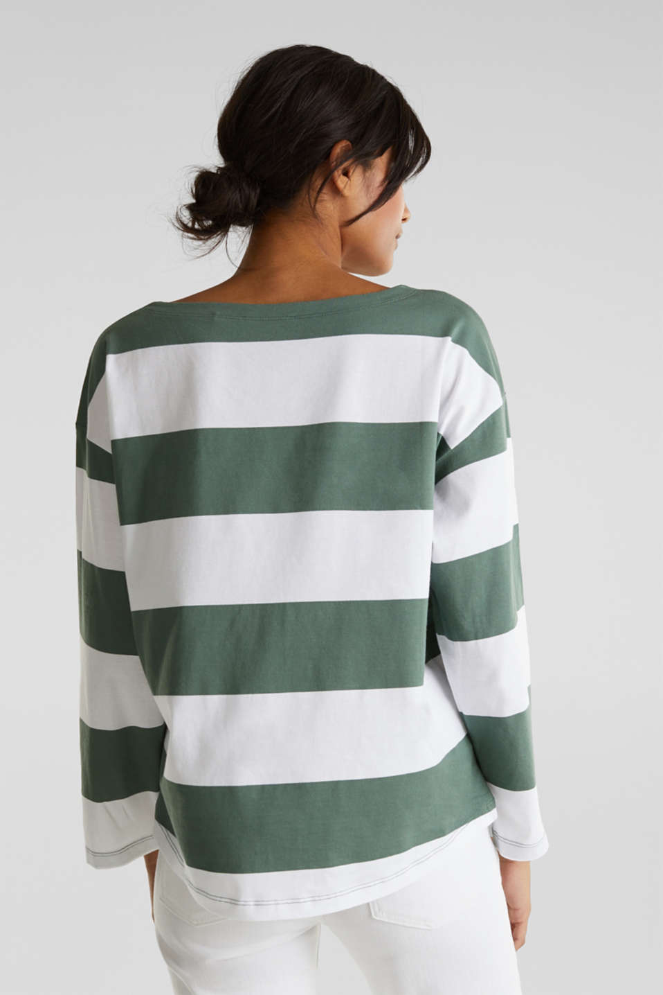 Long sleeve top with wide sleeves, 100% cotton, KHAKI GREEN, detail image number 3