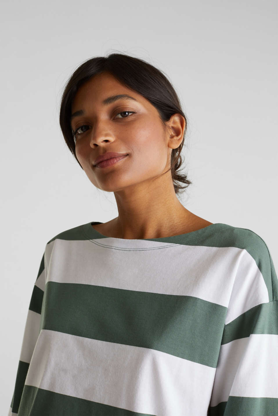 Long sleeve top with wide sleeves, 100% cotton, KHAKI GREEN, detail image number 2
