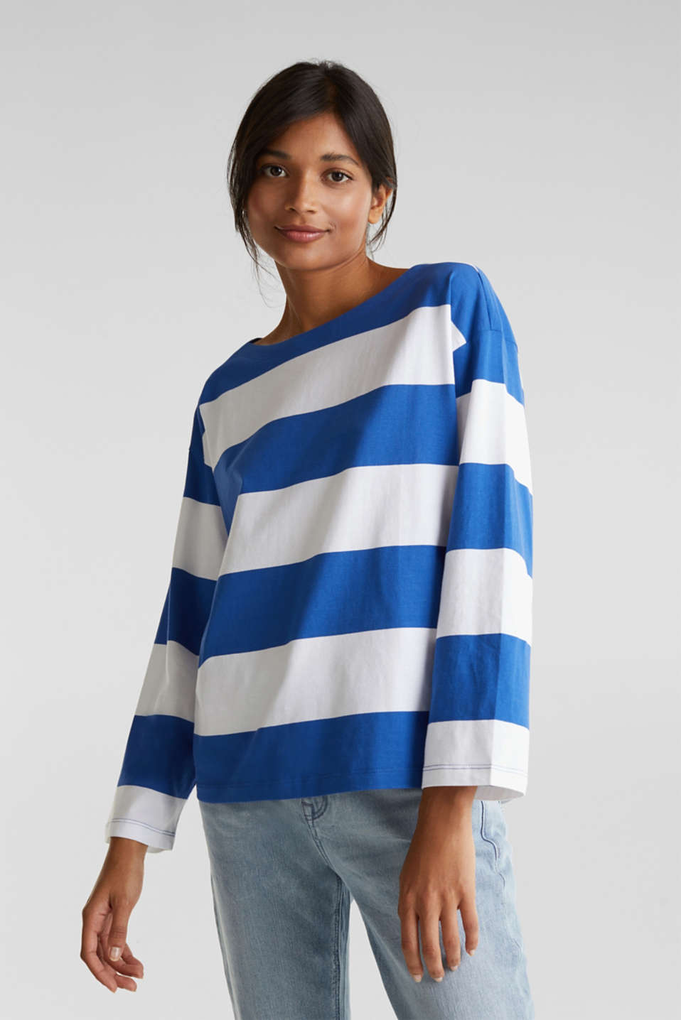Long sleeve top with wide sleeves, 100% cotton, BRIGHT BLUE, detail image number 0