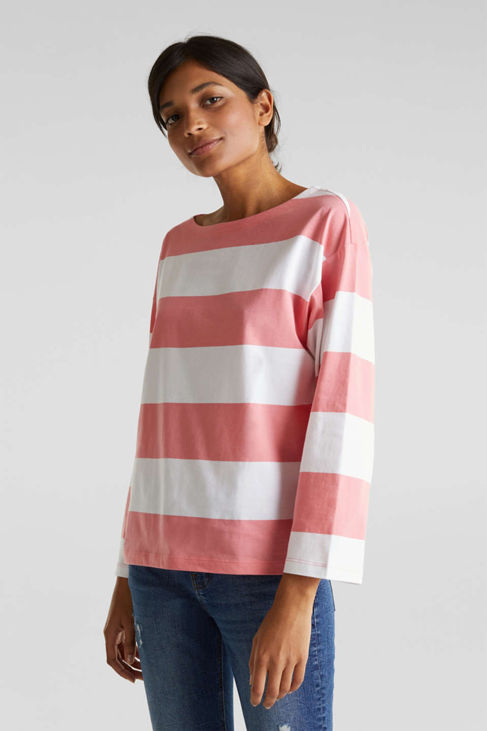 Long sleeve top with wide sleeves, 100% cotton, CORAL, detail image number 0