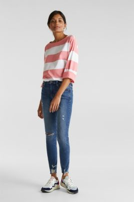 Long sleeve top with wide sleeves, 100% cotton, CORAL, detail