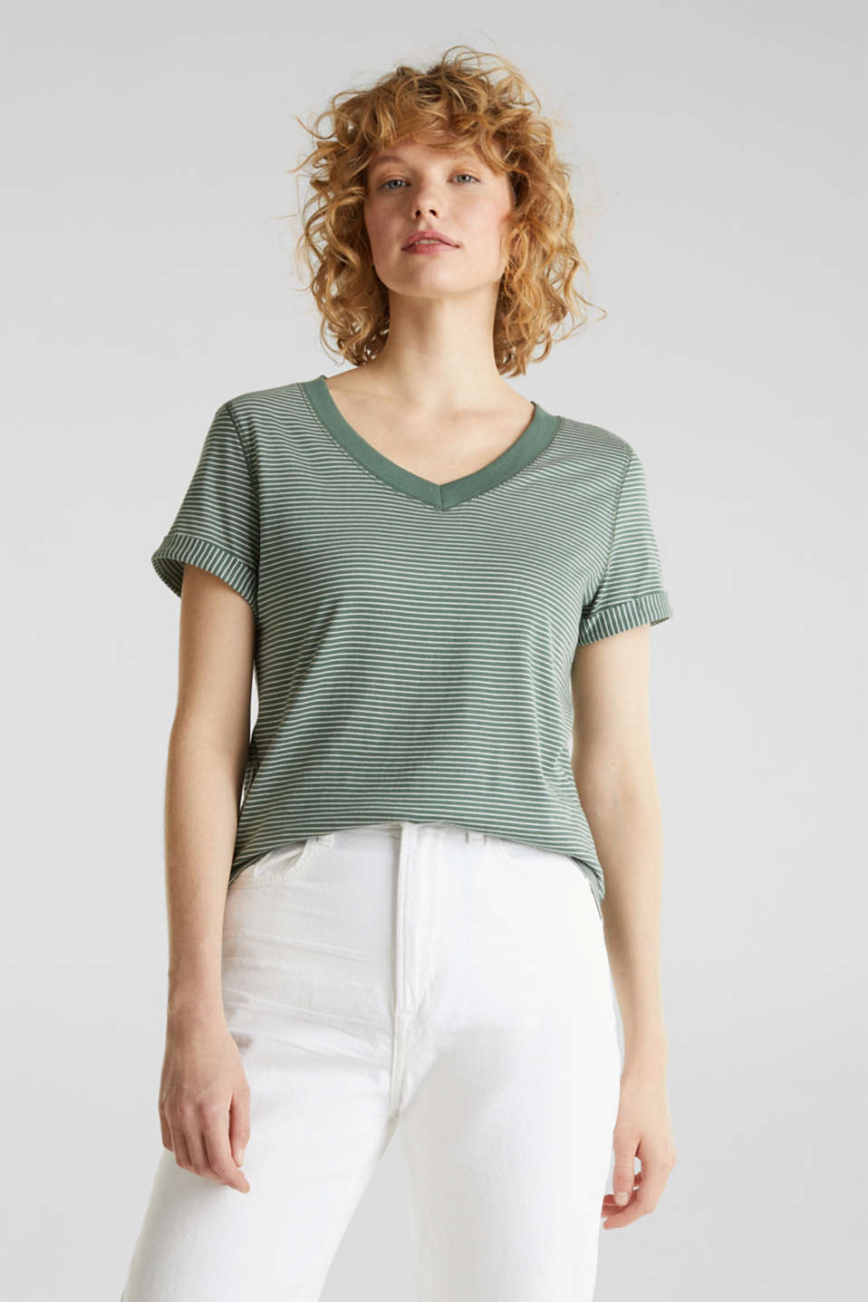 Striped top with a large V-neckline, KHAKI GREEN, detail image number 0