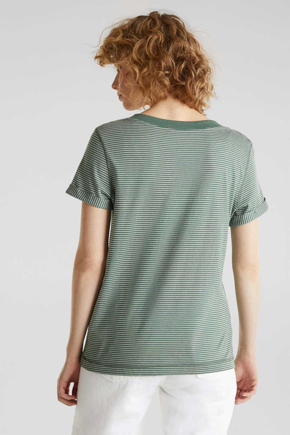 Striped top with a large V-neckline, KHAKI GREEN, detail image number 2