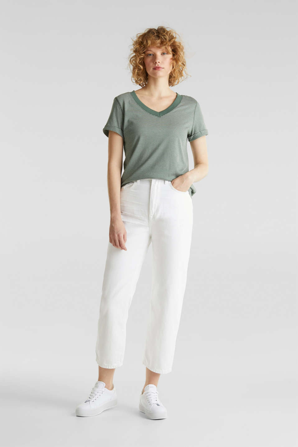 Striped top with a large V-neckline, KHAKI GREEN, detail image number 4