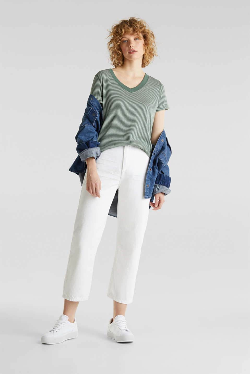 Striped top with a large V-neckline, KHAKI GREEN, detail image number 1