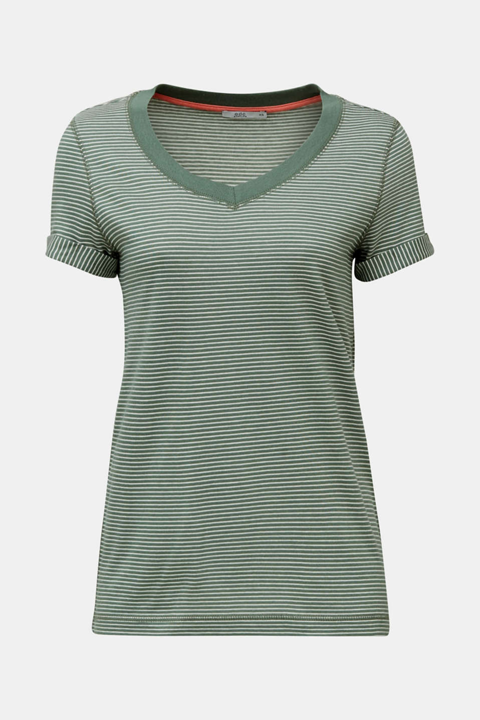 Striped top with a large V-neckline, KHAKI GREEN, detail image number 6