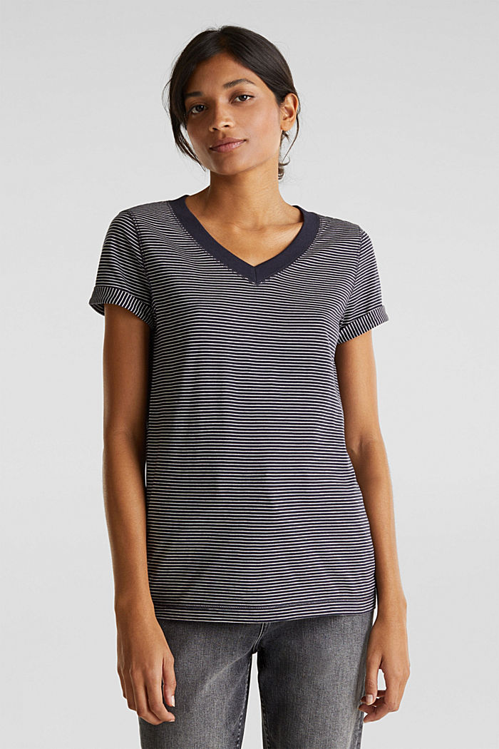 Gestreept shirt met een wijde V-hals, NAVY, detail image number 0