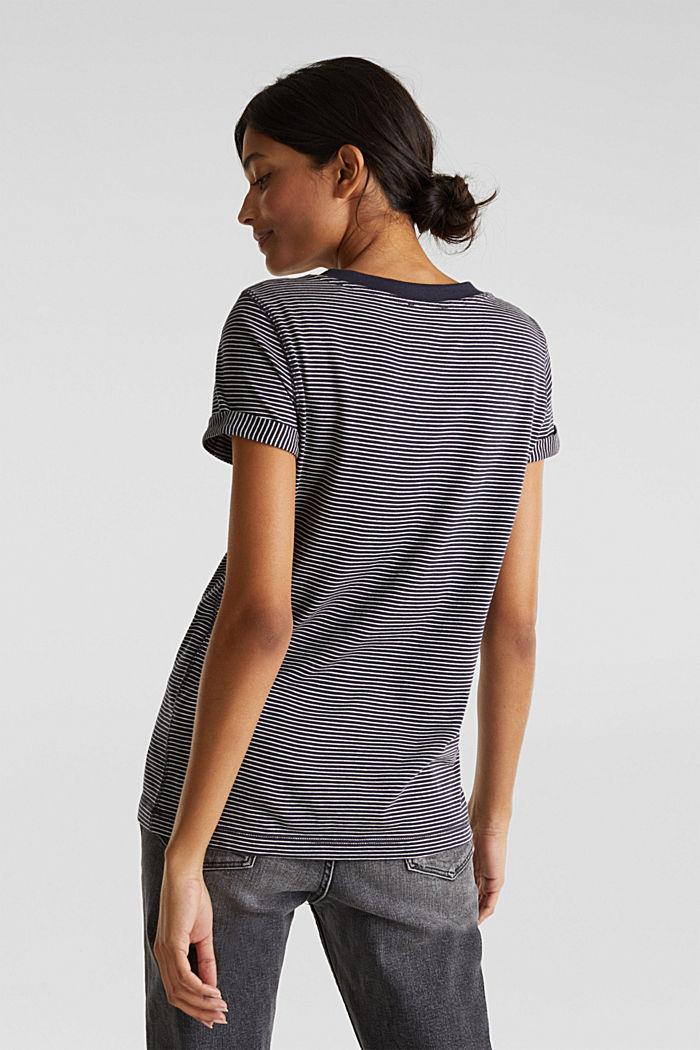 Gestreept shirt met een wijde V-hals, NAVY, detail image number 3