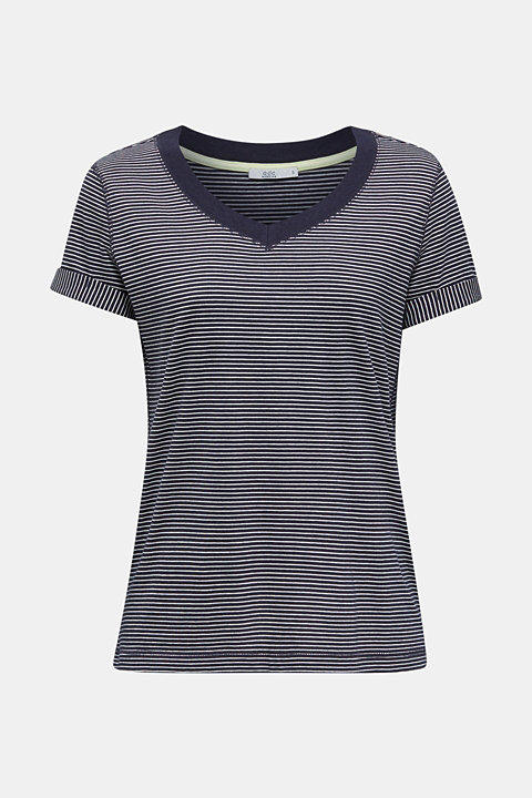 Striped top with a large V-neckline