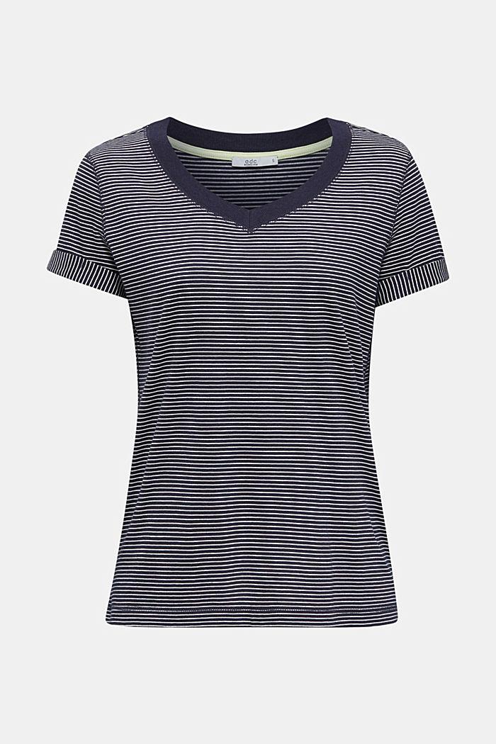 Gestreept shirt met een wijde V-hals, NAVY, detail image number 5