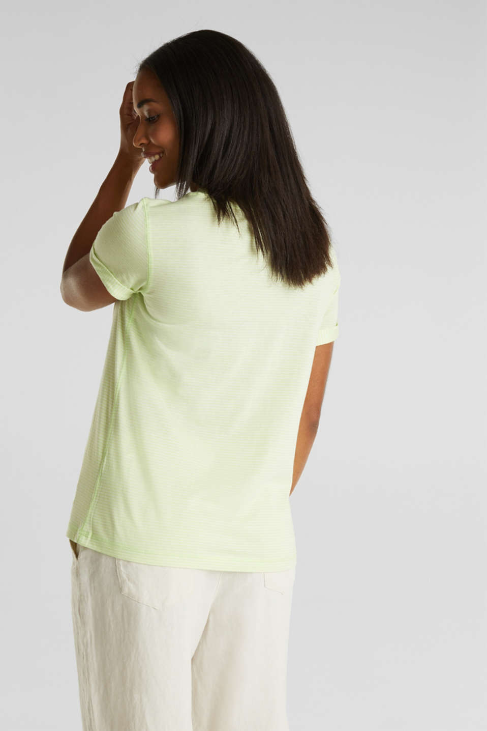 Striped top with a large V-neckline, LIME YELLOW, detail image number 2