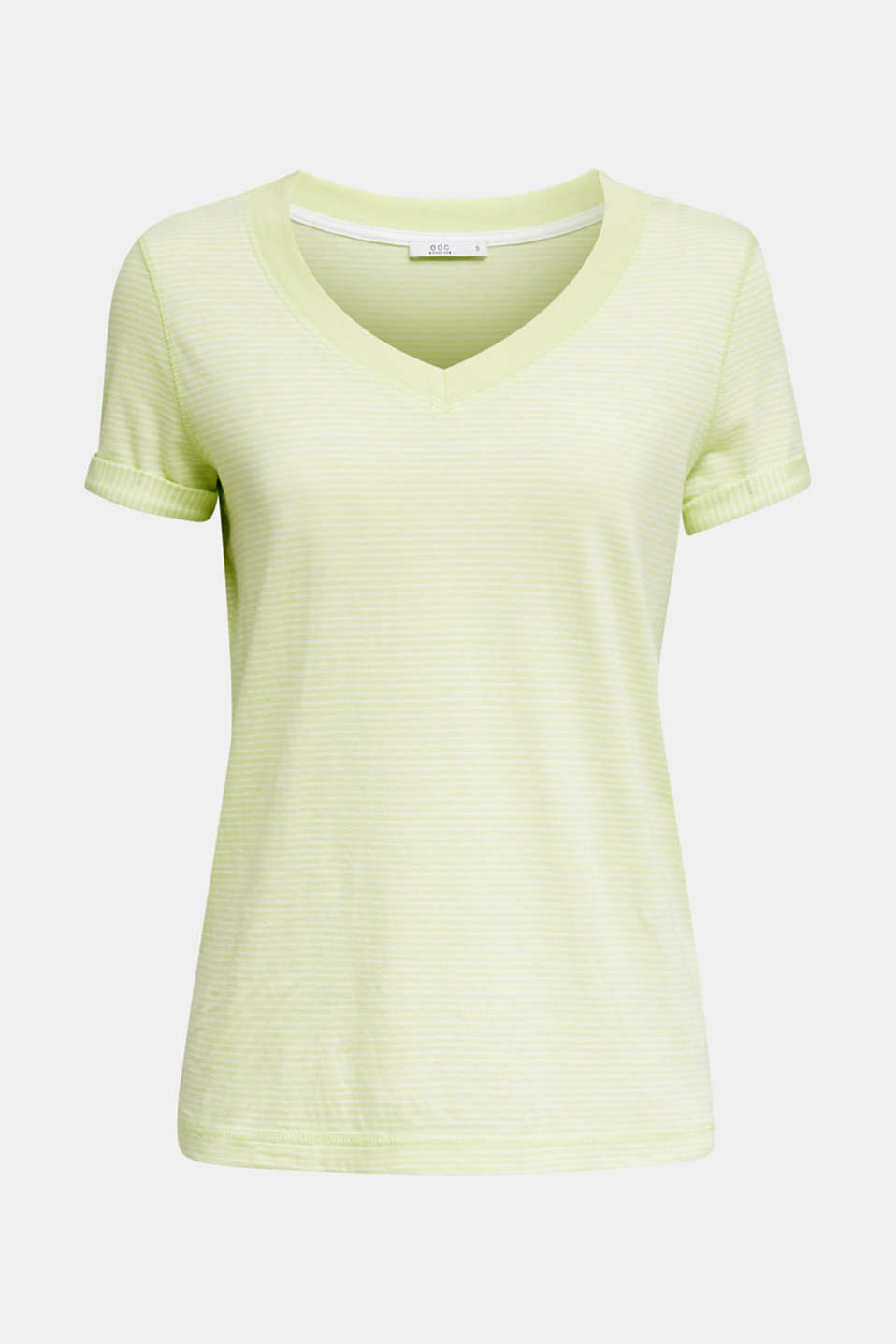 Striped top with a large V-neckline, LIME YELLOW, detail image number 5
