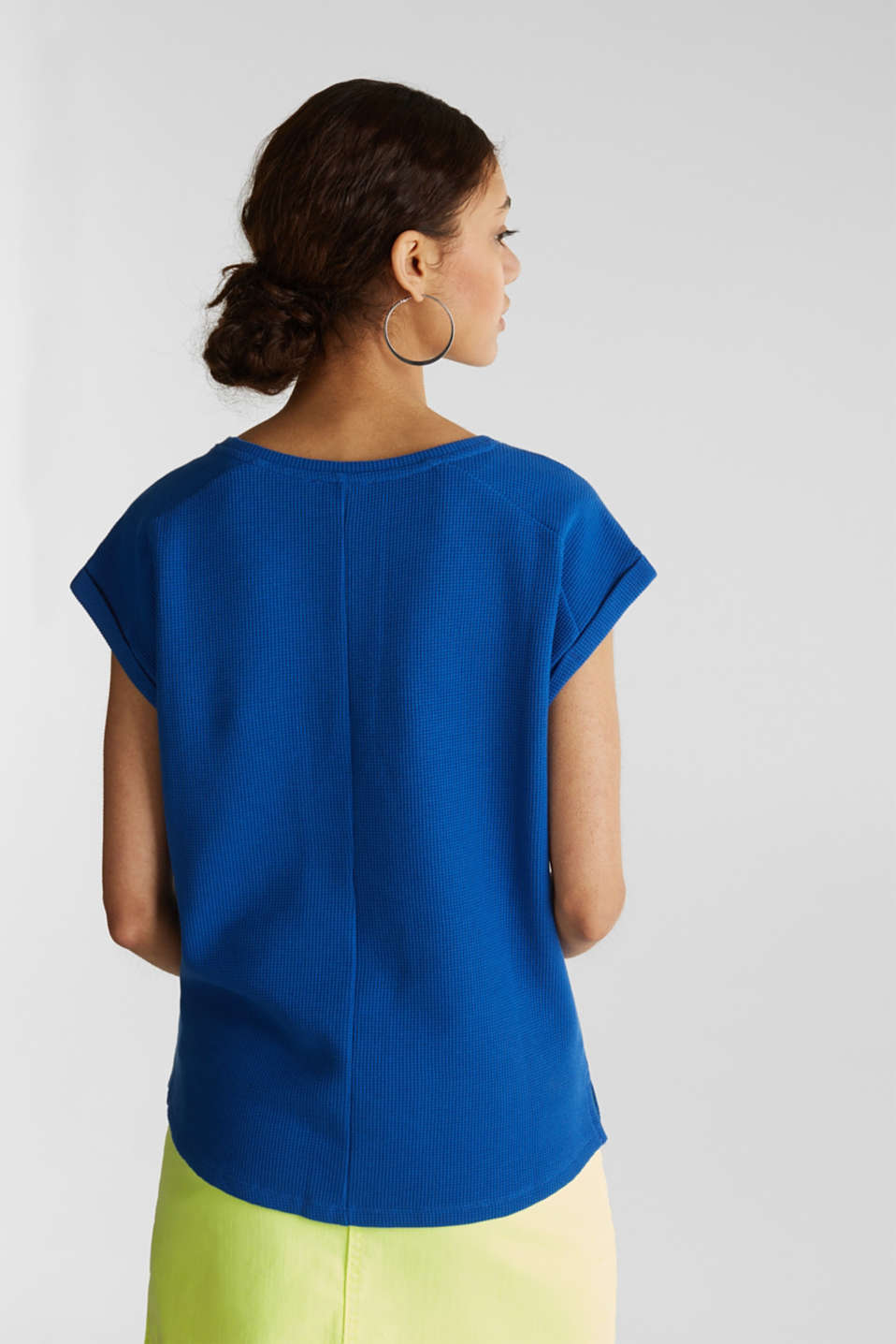 Textured stretch top with a pocket, BRIGHT BLUE, detail image number 3