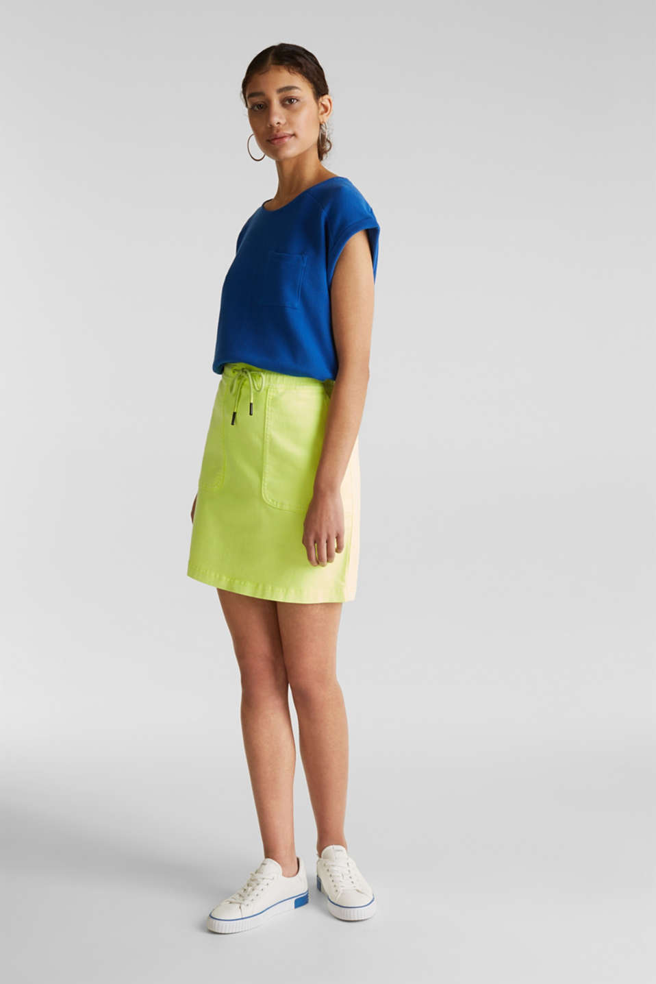 Textured stretch top with a pocket, BRIGHT BLUE, detail image number 1