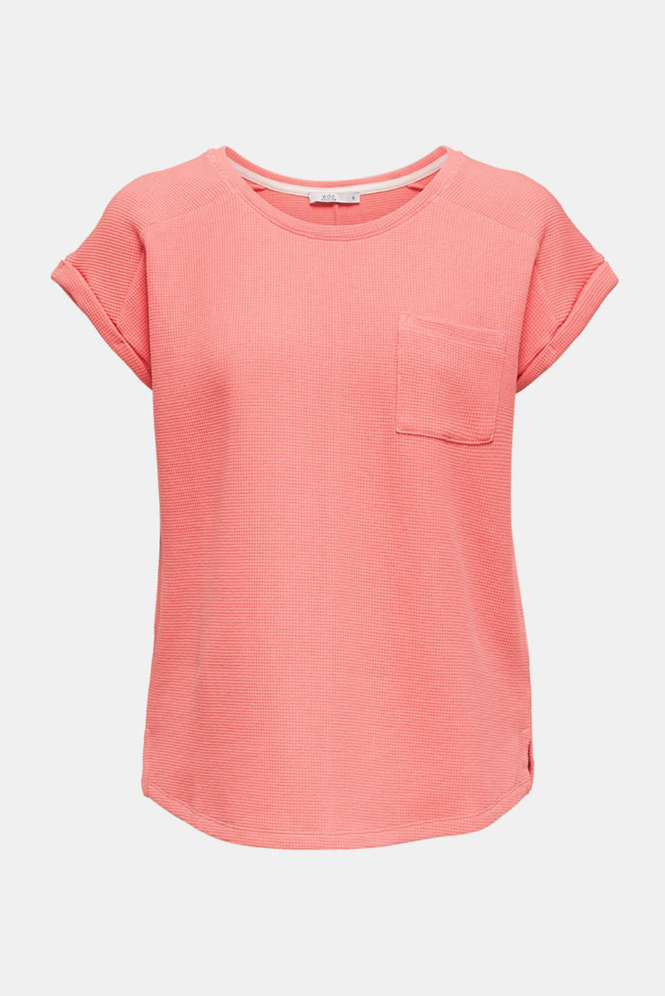 Textured stretch top with a pocket, CORAL, detail image number 6